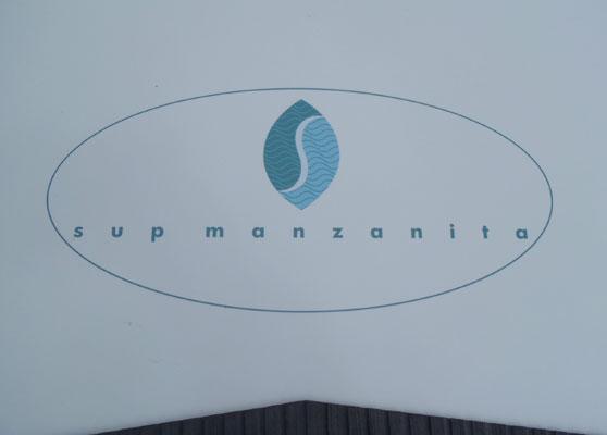 Logo on a SUP Manzanita paddle board