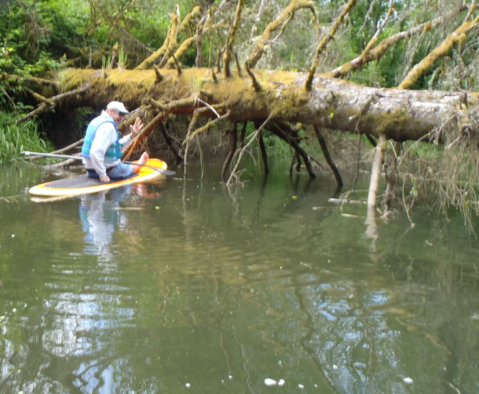 Mike negotiating a cool little channel we found